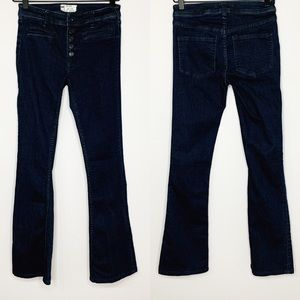 FREE PEOPLE Dark Wash Bootcut Button Fly Jeans